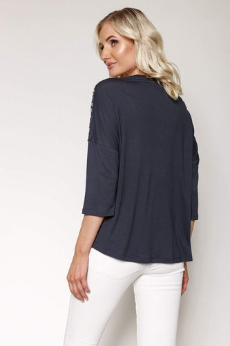 Kelly & Grace Weekend Tops Woven Front Top in Navy