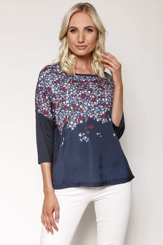 Kelly & Grace Weekend Tops Navy / S / 3/4 Sleeve Woven Front Top in Navy