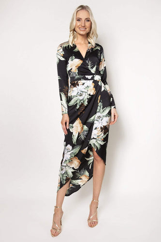 Ada Rowe Dresses Multi / 8 / Maxi Wrap Flute Sleeve Maxi Dress