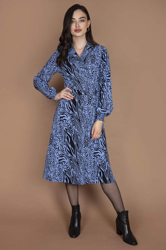 Nova of London Dresses Animal / 8 / Midi Wrap Front Collar Midi Dress in Animal Print