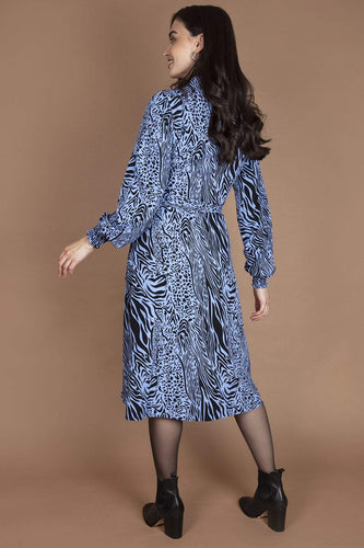 Nova of London Dresses Wrap Front Collar Midi Dress in Animal Print