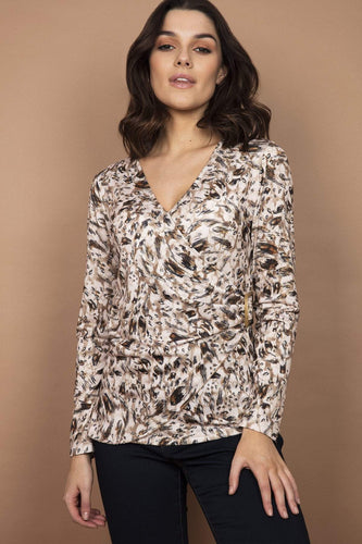 J'aime la Vie Tops Blue / S Wrap Front Top in Beige Print