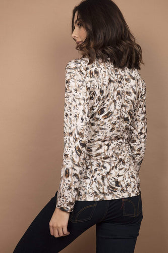 J'aime la Vie Tops Wrap Front Top in Beige Print