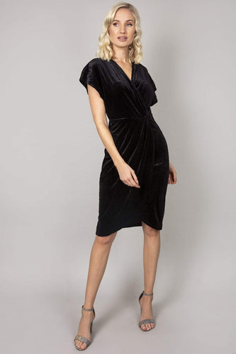 Mela London Dresses Black / 10 / Over the knee Wrap Front Velvet Dress in Black