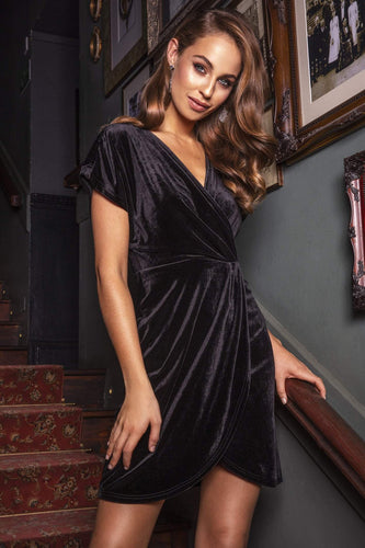 Mela London Dresses Wrap Front Velvet Dress in Black