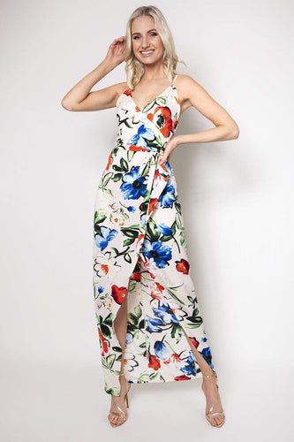 Ada Rowe Dresses Multi / 8 / Maxi Wrap Maxi Dress in Floral Print