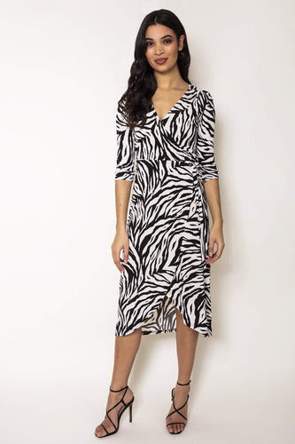 Nova of London Dresses Animal / 8 / Midi Zebra Midi Dress in Black