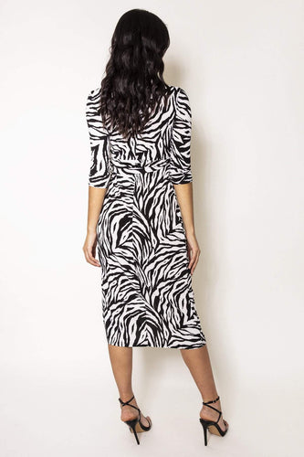 Nova of London Dresses Zebra Midi Dress in Black