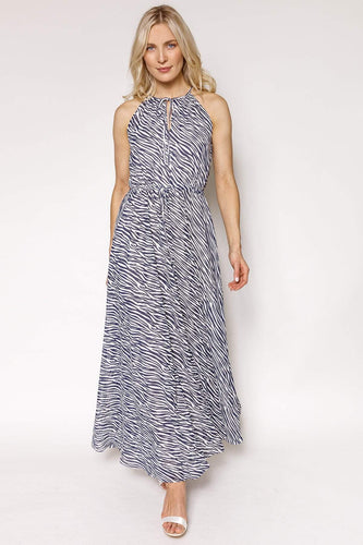 Mela London Dresses Animal / 10 / Maxi Zebra Stripe Maxi Dress in Navy