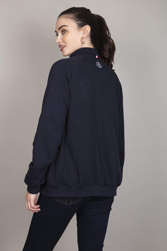 Kelly & Grace Weekend Jumpers Zip Bomber in Navy
