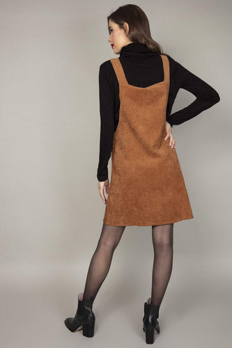 Nova of London Dresses Zip Front Pinny Dress in Camel