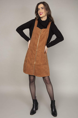 Nova of London Dresses Brown / 8 / Over The Knee Zip Front Pinny Dress in Camel