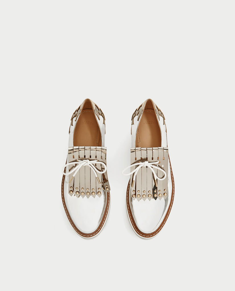Silver Platform Brogues With Fringe