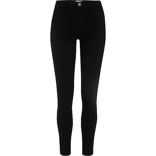Black Oil Coated Stretch Skinny Jeans