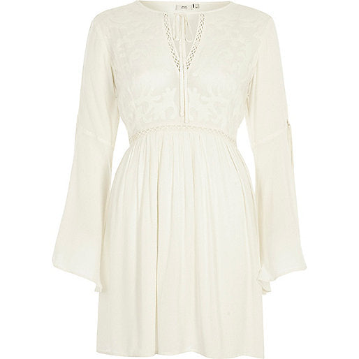 Petite cream embroidered smock dress