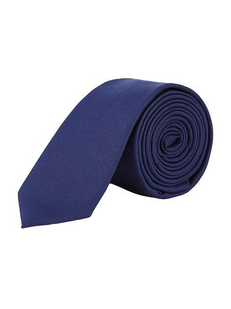 Navy Blue Slim Plain Tie