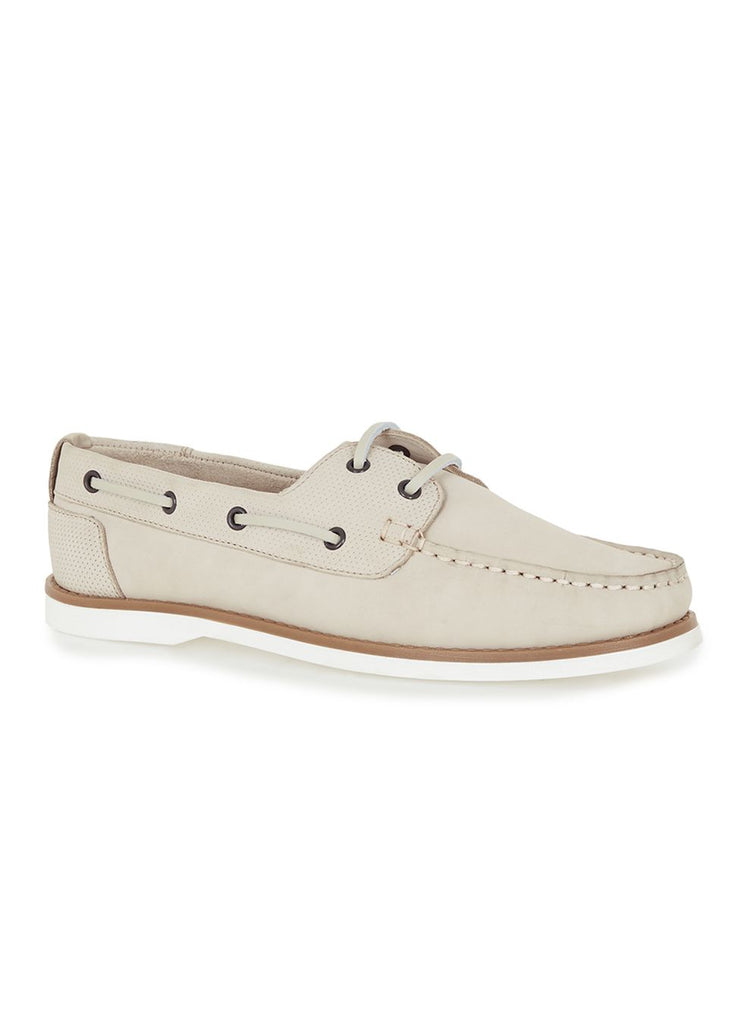 Off White Leather Boat Shoes