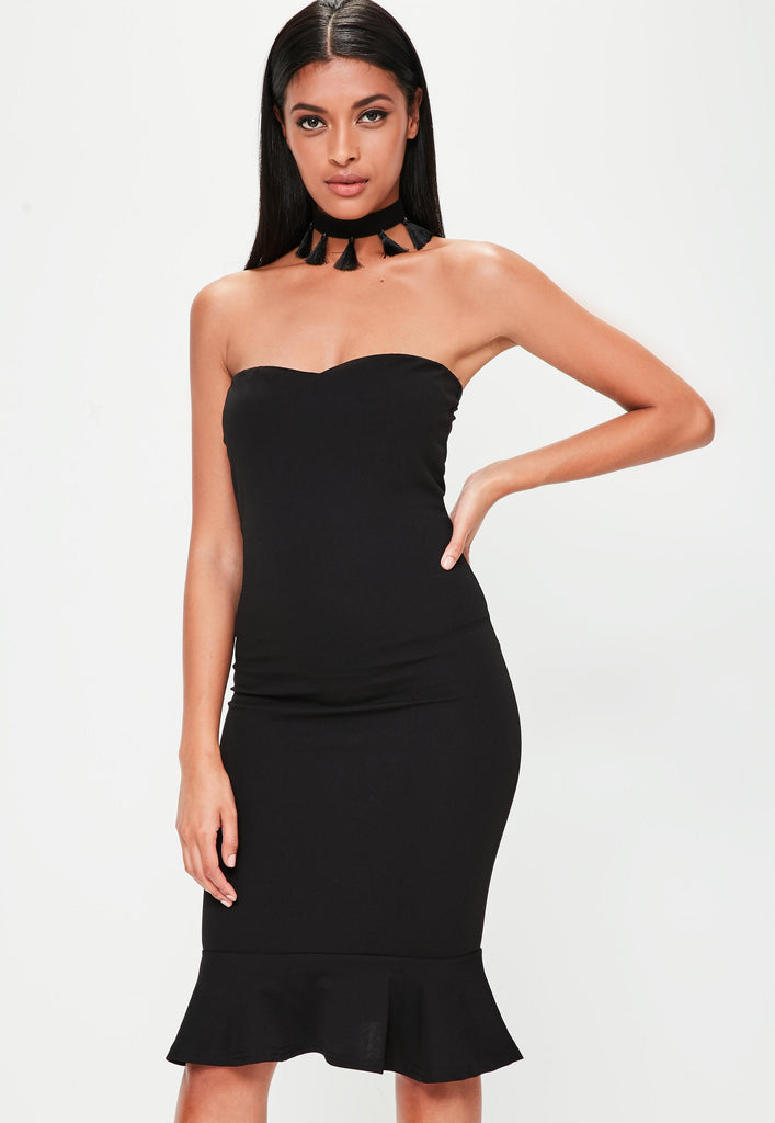Black Bandeau Flippy Hem Midi Dress