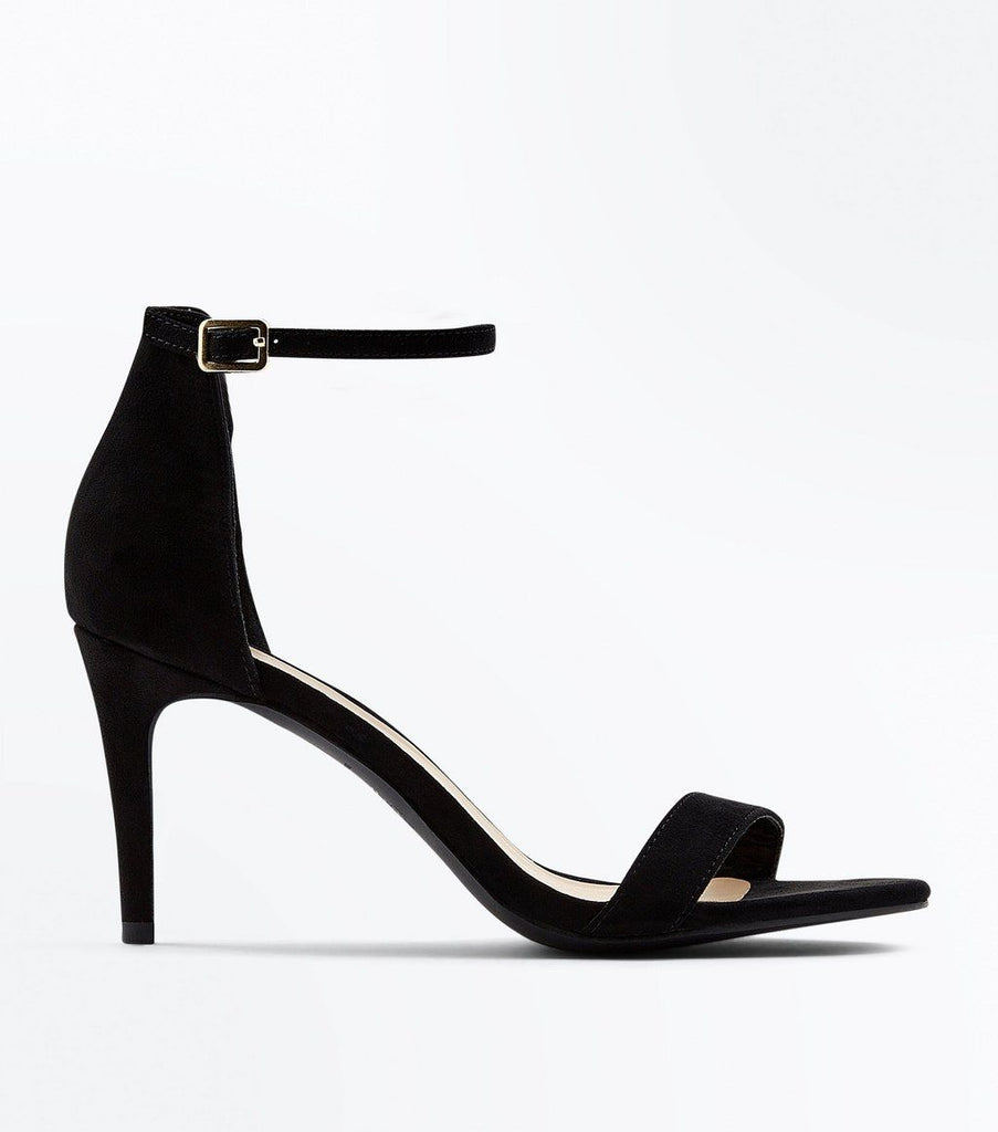 Black Suedette Stiletto Heeled Sandals