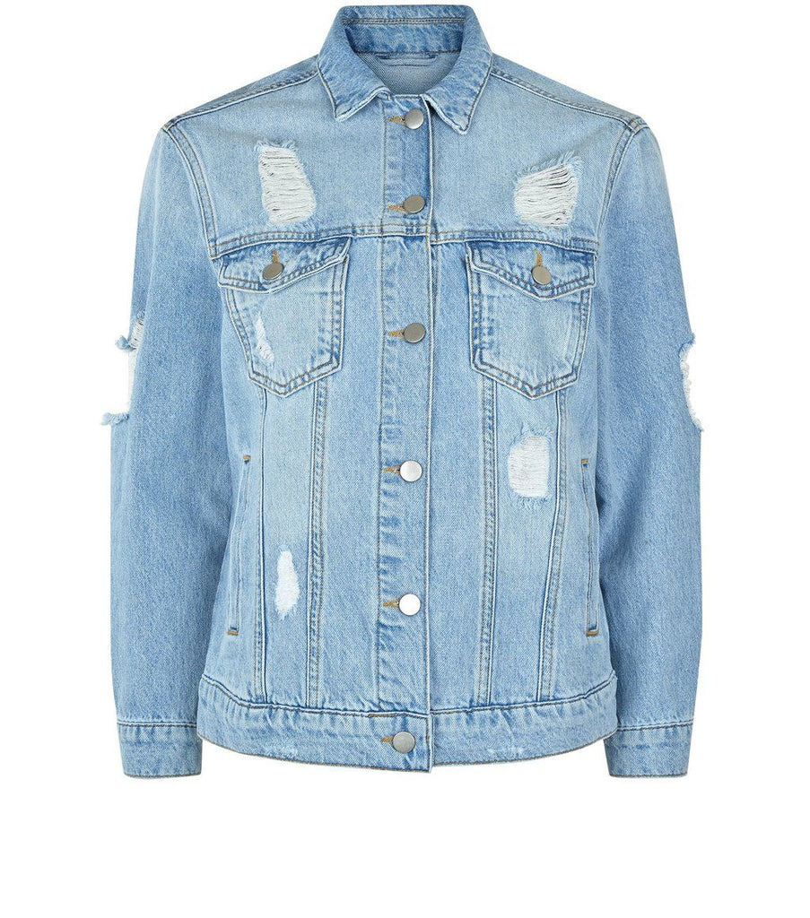 Petite Blue Ripped Oversized Denim Jacket