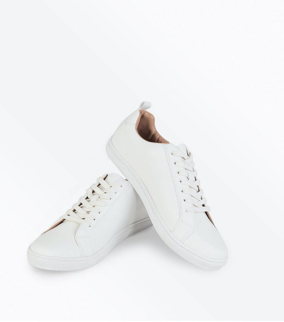 White Contrast Inner Lace Up Trainers