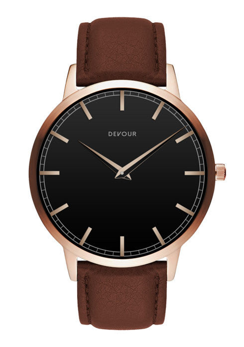 <i>The Classic</i> <br/> Rose Gold with Black Dial