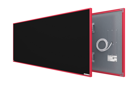 blackboard glass infrared panel heater with red frame