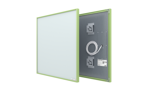 crystal white glass infrared panel heater with green frame