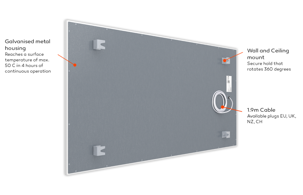welltherm infrared panel metal back side