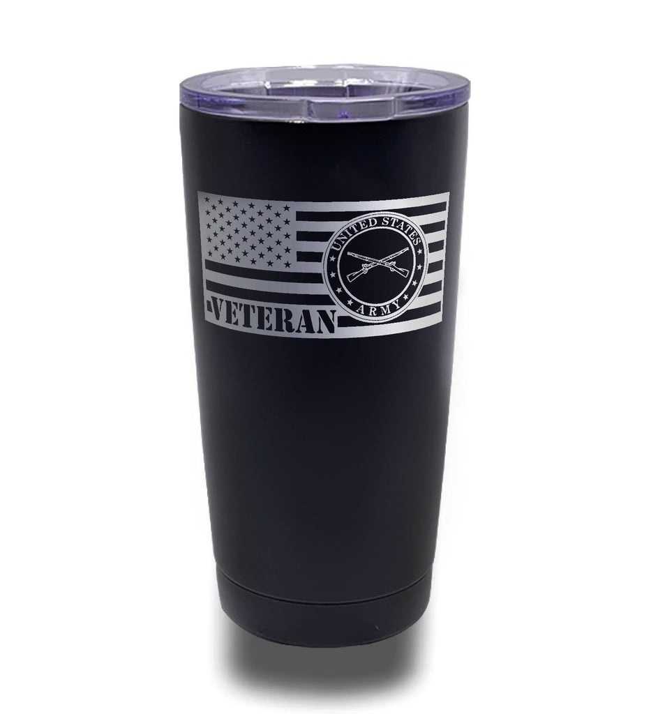 Tumbler- Black 20oz w/ Lasering- Army - Infantry Cross Rifles 2 - Veteran Flag