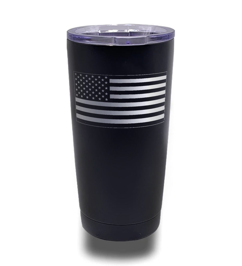 Tumbler- Black 20oz w/ Lasering- American Flag- Inverted Flag
