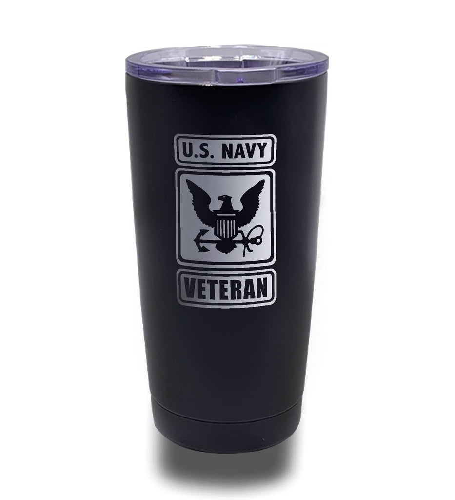 Tumbler- Black 20oz w/ Lasering- US Navy Veteran