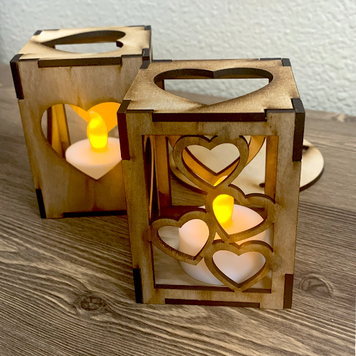 """Love & Light"" Wooden Tea Light Box-Set of 2"