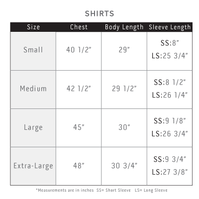 Slim-Fit Shirt Sizing Chart