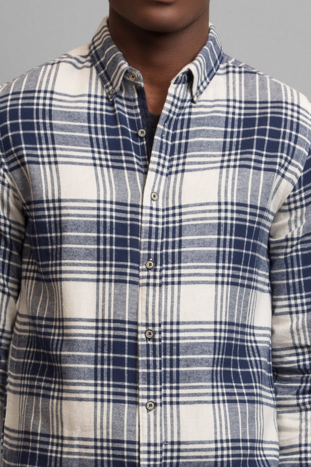 Navy & White Flannel