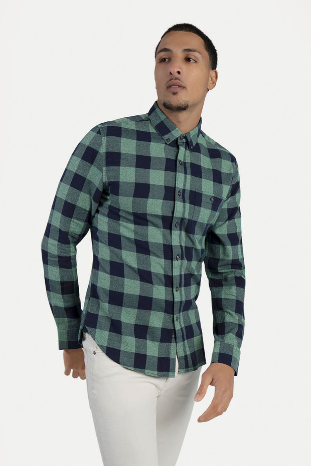 Green & Navy Grindle Flannel