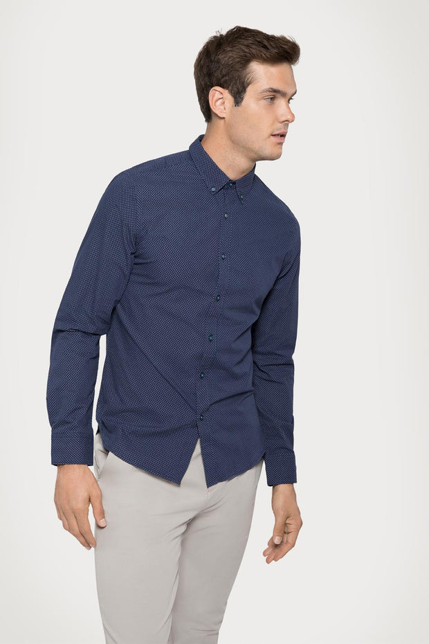 Navy Geo Print Dress Shirt