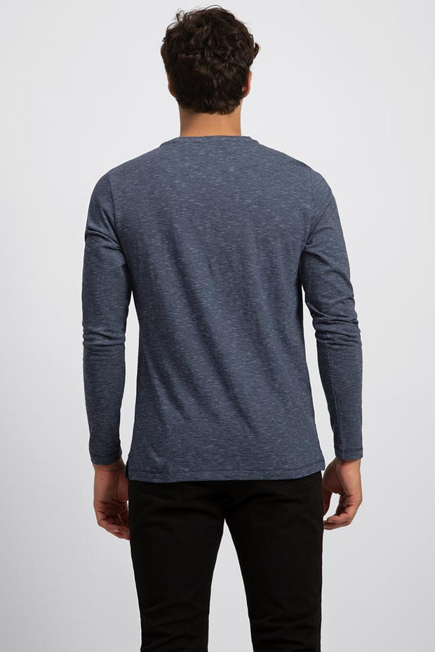 Lightweight Micro Stripe Henley Long Sleeve Tee