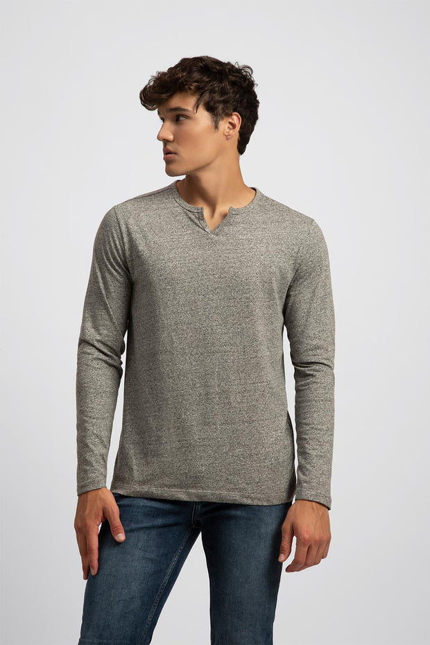 Lightweight Heather Henley Long Sleeve Tee