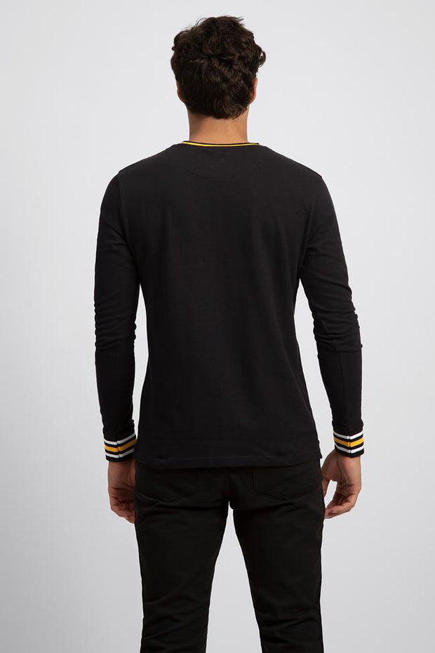 Dark Navy Pique Long Sleeve Tee