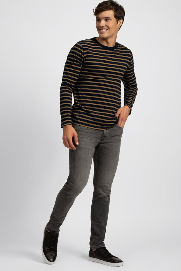 Soft Navy Crew Neck W/ Gold Stripe Tee