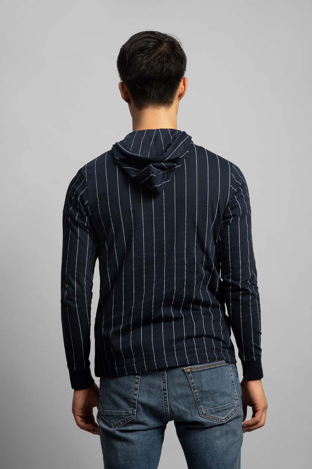 Navy Striped Long Sleeve Hooded T-Shirt