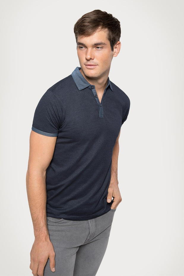 Navy Plated Jersey Polo