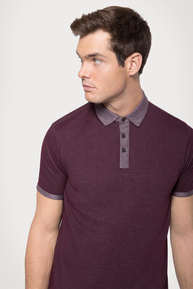 Burgundy Plated Jersey Polo