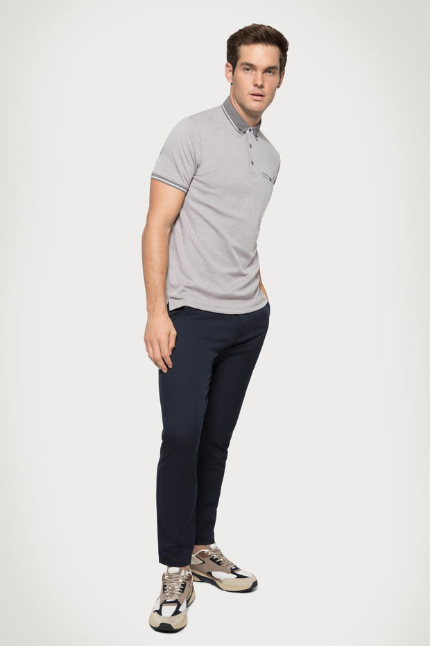 Gray Pique Cotton Polo