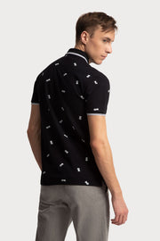 Navy Polo W/Pineapple Prints