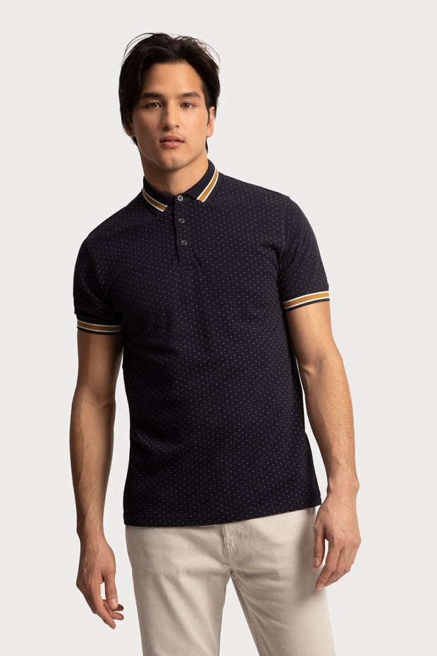 Navy Polka Dot Polo