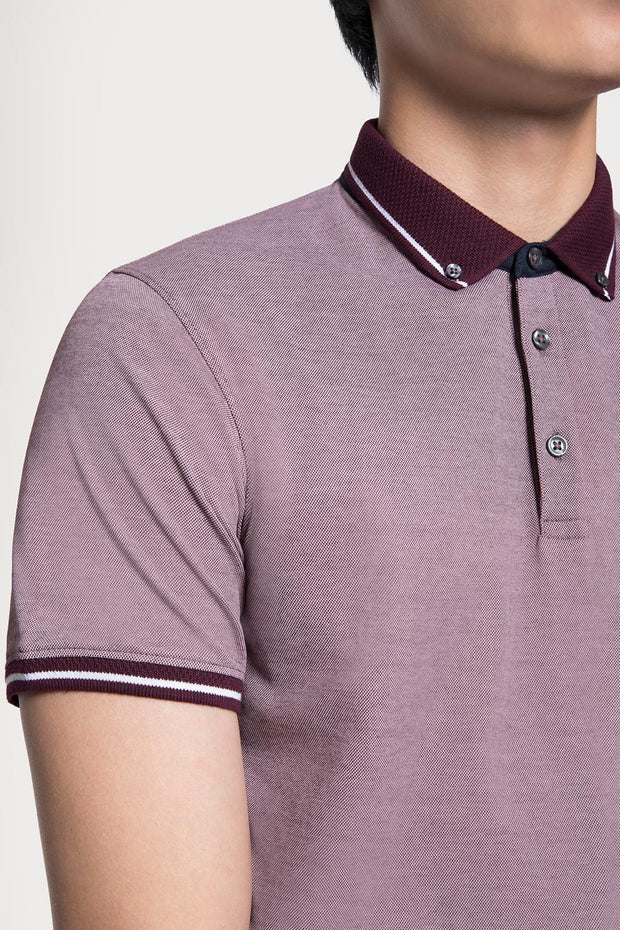 Burgundy Pique Cotton Polo