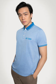 Blue Monochrome Pique Cotton Polo