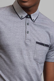 Gray Polo Patterned Collar